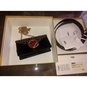 Fendi Belt Bag Zucca Brown Red Leather